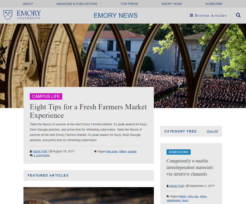 The Emory News Center development website homepage