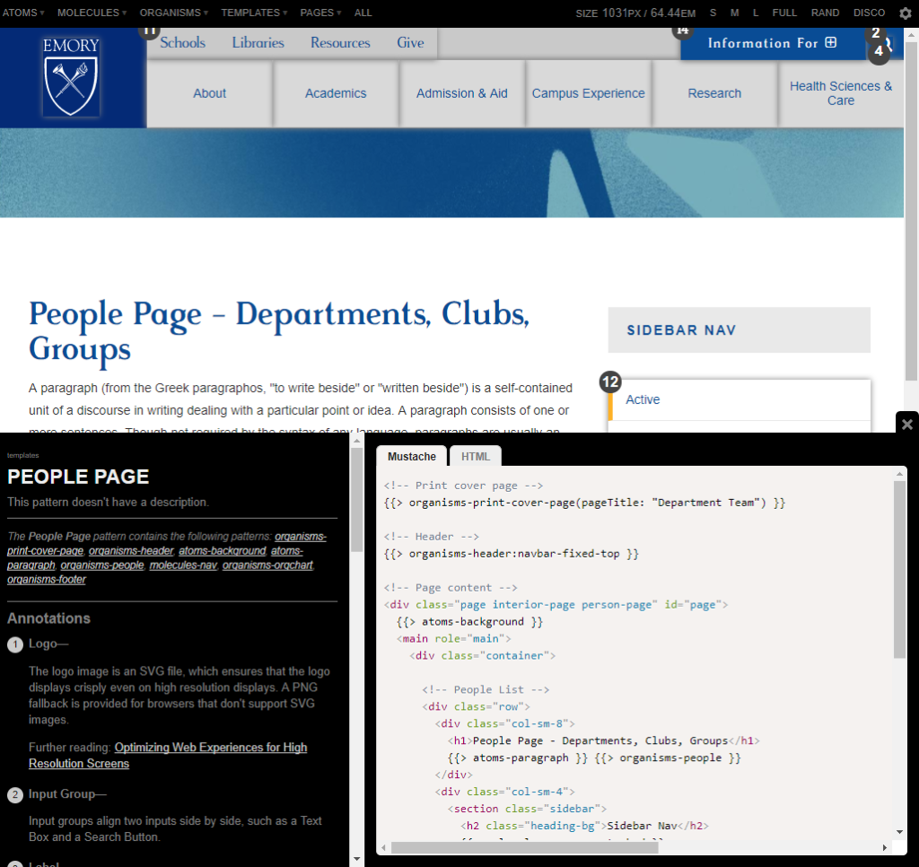 This example of the Emory University Pattern Library shows the page template for displaying multiple people and their contact information.